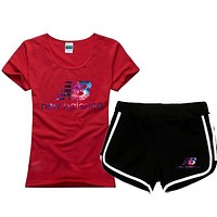 New Balance Women Fashion Cotton Sport Shirt Shorts Set Two-Piece Sportswear