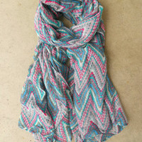 Jagged Zig Zag Scarf [3864] - $16.00 : Vintage Inspired Clothing & Affordable Fall Frocks, deloom | Modern. Vintage. Crafted.