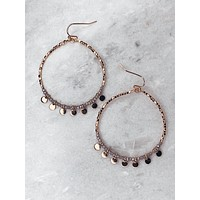 Bead & Disc Charm Earrings - Gray
