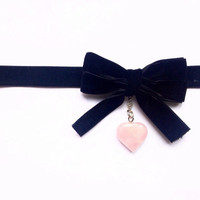 Black Velvet Bow and Rose Quartz Choker