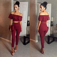 Fashion Frills Off Shoulder Short Sleeve Crop Top High Waist Tight Long Pant Set Two-Piece