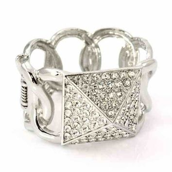 """1.50"""" wide crystal pave arm candy stack bracelet bangle cuff hinged"""
