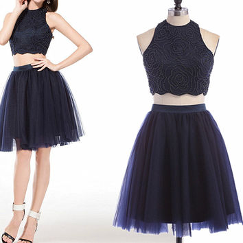 Short Two Piece Homecoming Dress , Tulle Homecoming Dress, Cheap Homecoming Dress