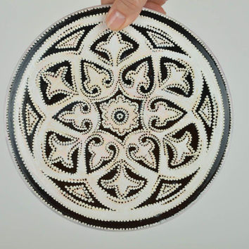 Decorative handmade painted ceramic wall plate with interesting design