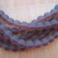Amethyst sea glass beads 8mm round 8 inch strand