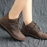 Retro Leather Shoes for Women, Flat Shoes,Casual Shoes, Vintage Style Shoes,Oxford Women Shoes