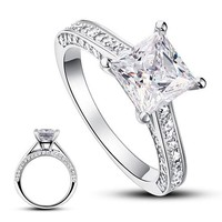 STYLEDOME 925 Sterling Silver Wedding Engagement Ring 1.5 Carat Princess Cut Simulated Diamond