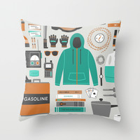 Zombie Survival Kit Throw Pillow by Zeke Tucker