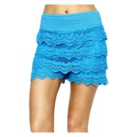 Crochet lace layered shorts with banded waist, Turquoise