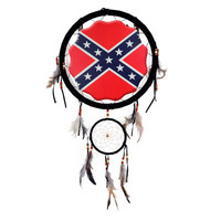 Confederate Rebel Flag Dream Catcher 13 inch with Feathers