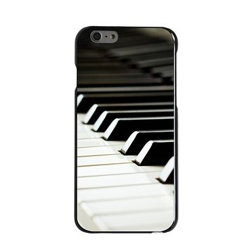 DistinctInk® Hard Plastic Snap-On Case for Apple iPhone - Piano Keys Keyboard