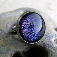 Purple Sparkle Glitter Ring in Antiqued Silver