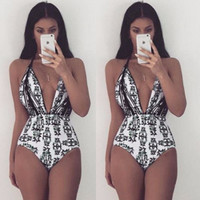 New Arrival Sexy Floral Print Strap One Piece Swimsuit Biquini High Waist Swimwear Bodysuit Leotard Monokinis Women Bathing Suit