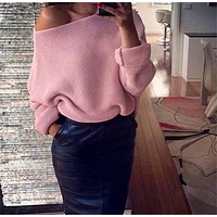 Bat sleeve loose collar Strapless knitted sweater