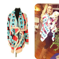 The Bonfire Cardigan in Coral Cozy Aztec Knit Cardigan Warm Oversized Look Made Famous by Emily Maynard Gifts For Her Gifts Under 60