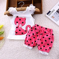 summer children fly sleeve bow suit small cute cat shorts suit baby girls clothing set kids polka dot clothes suit