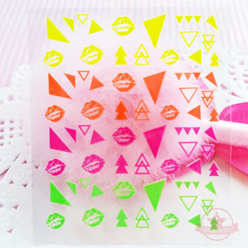 Lips Flag Arrow Self Adhesive Colorful Nail Art Stickers Transfer Decals -  N4-04