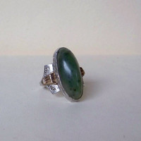 Vintage Art Deco Clark Coombs Sterling GF Ring Green Stone or Jade