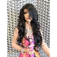 """EMPEROR lace front wig 26"""" long black blond balayage hair"""