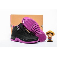 Air Jordan 12 Gs Black/pink Aj 12 Women Basketball Shoes | Best Deal Online