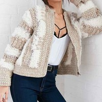 Kimchi Blue Limited Crochet Zip Cardigan Sweater