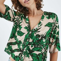 Short Sleeve Tropical Print Shirt - Topshop