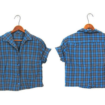 Plaid 50s Button Up Shirt Cropped Gray Blue Short Sleeve Blouse Mid Century 1950s Retro Crop Tshirt Extra Small XS Louannes Vintage
