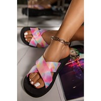 Summer comfortable flat bottom ladies large open-toed casual slippers