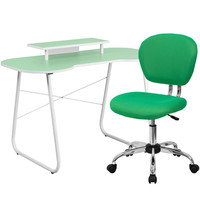 Green Computer Desk with Monitor Stand and Mesh Chair