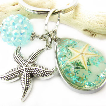 Starfish and Shell Keychain