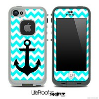 Trendy Blue/White Chevron with Black Anchor Skin for the iPhone 5 or 4/4s LifeProof Case