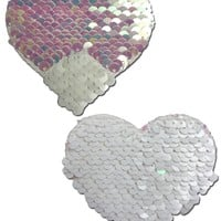 Iridescent Pearl/Matte White Color Changing Reversible Sequin Heart Pasties