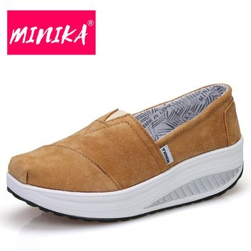 MINIKA Pu Leather Comfortable Women Shoes Thick Bottom Round Toe Women Casual Shoes Superstar Solid Colors Women Flat Shoes