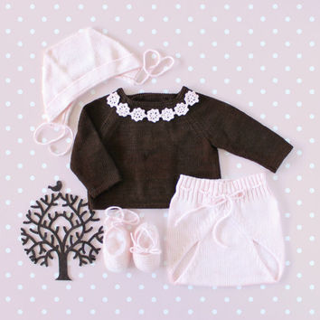 Knitted baby sweater and diaper cover, matching bonnet and shoes. Brown Pink. 100% cotton. READY TO SHIP size newborn