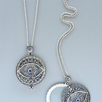 Antique Silver Looking-Glass Evil Eye Necklace