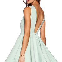 Mint Green Back V Sleeveless Mini Skater Dress
