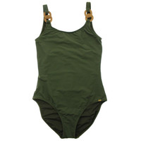 Pily Q Womens Embellished Solid One-Piece Swimsuit