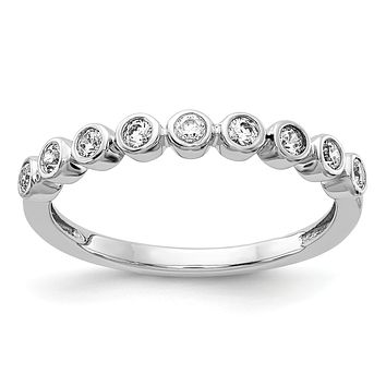 14k White Gold 9-stone Bezel-set Real Diamond Band