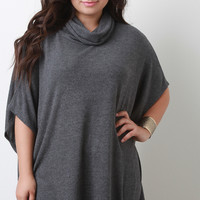 Turtleneck Soft Knit Dropped Shoulders Top