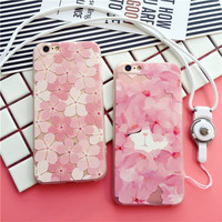 Exquisite fashion Cherry Blossom transparent soft silicone mobile phone case for iphone 6 6s 6plus 6s plus + Nice gift box!