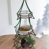 Folding Green Christmas Tree with 3 Red Baskets & Gold Star