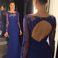 Long Sleeves Prom Dress,Royal Blue Mermaid Prom Dresses,Evening Dresses