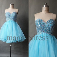 Custom Blue Beaded Short Prom Dresess Bridesmaid Dresses Party Dress Evening Dresees Party Dresses Wedding Party Dress Homecoming Dresses