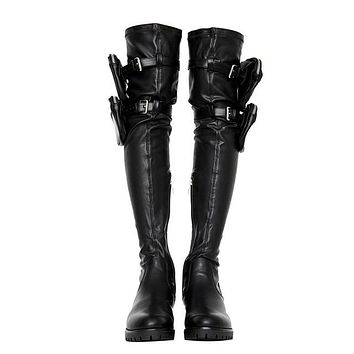 Women Black Leather Over The Knee Pocket Fashion Boots