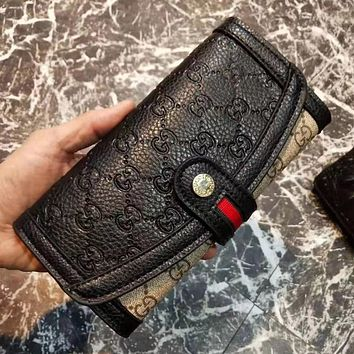 GG stitching color embossed letters flap wallet long clutch Bag