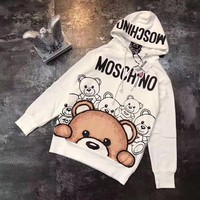 ''MOSCHINO'' Women Men Print Bear Hot Hoodie Sweater White