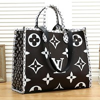 LV Louis Vuitton Fashion Women Shopping Bag Leather Handbag Shoulder Bag Satchel Black