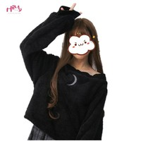 Harajuku Sexy Pullover Moon Hollow Out Fluffy Punk Lolita Hoodies Women Crop Sweatshirts Off Shoulder Long Sleeve Loose Top
