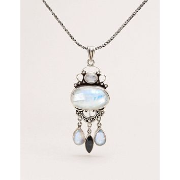 Tibetan Moonstone and Labradorite Necklace - One of a Kind