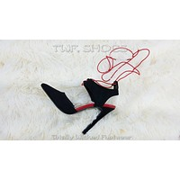 "Ricky Black Pointy Toe Elastic Wrap Around Strap 4.5"" High Heels Sandal Shoes"